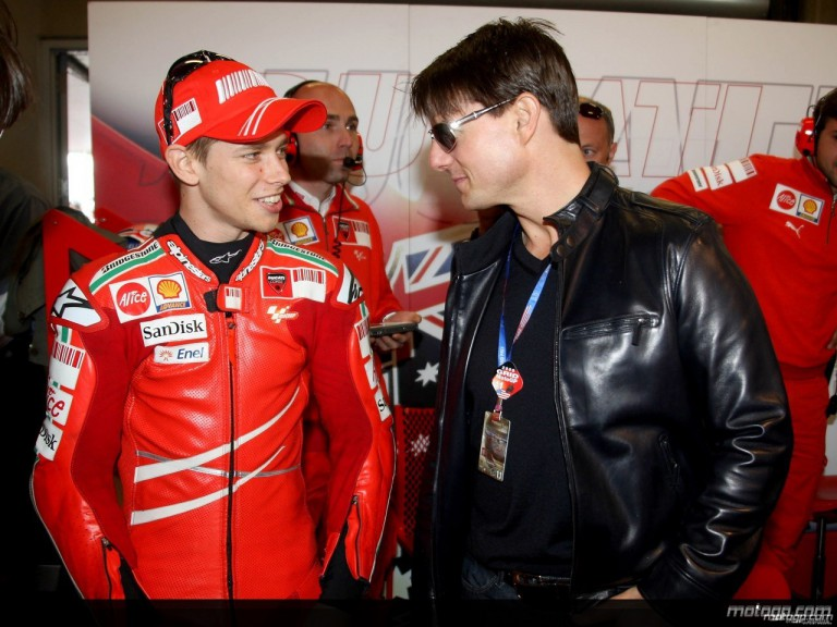 Tom Cruise and Casey Stoner in the Ducati Marlboro garage at the Red Bull U.S. Grand Prix