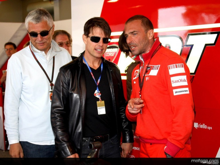 Tom Cruise and Livio Suppo in the Ducati Marlboro garage at the Red Bull U.S. Grand Prix
