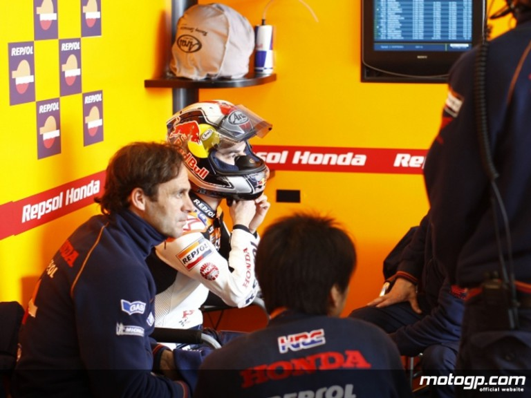 Alberto Puig and Dani Pedrosa in the Repsol Honda garage