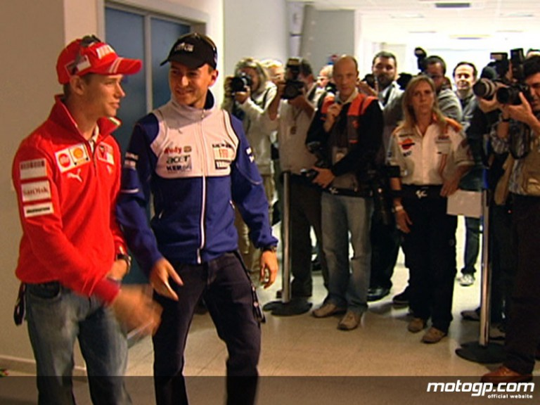 Reigning World Champion Casey Stoner and rookie Jorge Lorenzo