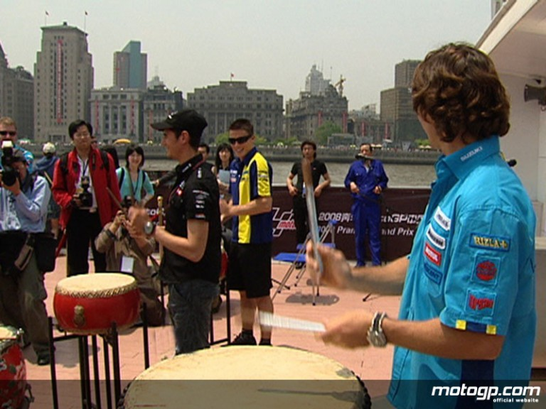 MotoGP riders on the Huang Pu river in Shanghai