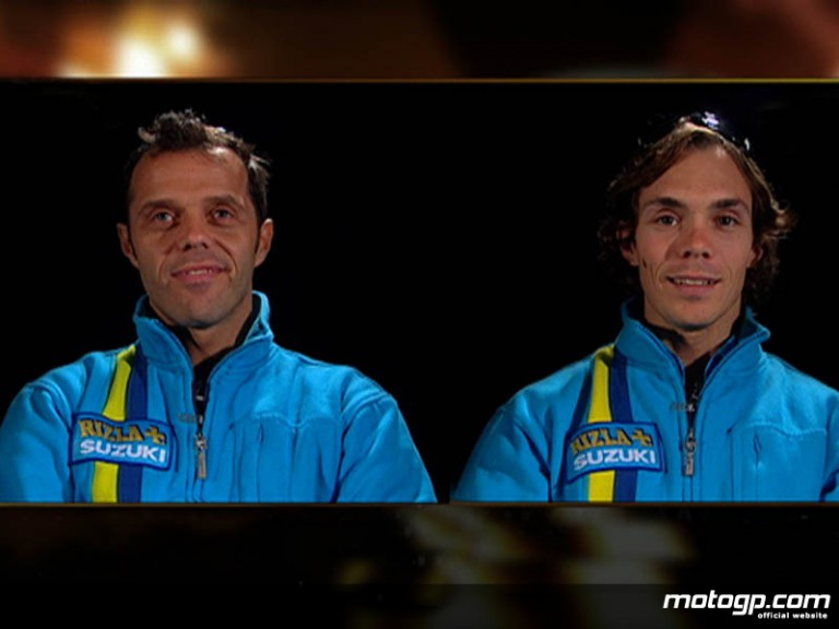 Rizla Suzuki riders Loris Capirossi and Chris Vermeulen