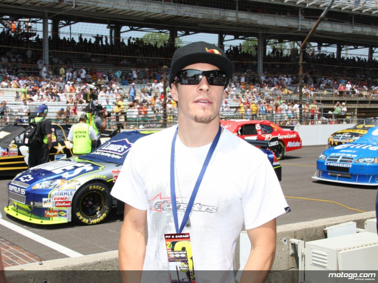 Nicky Hayden at the Indianapolis Motorsport Speedway for the NASCAR Allstate 400 race