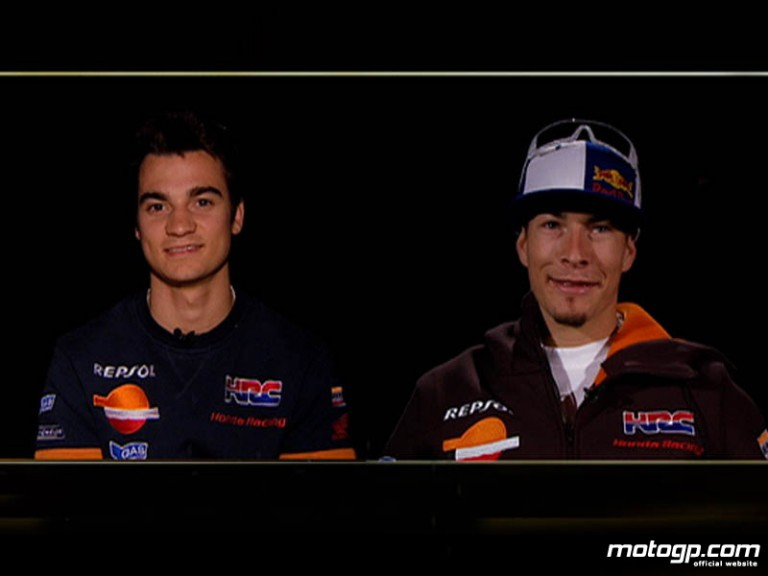 Repsol Honda team-mates Dani Pedrosa and Nicky Hayden