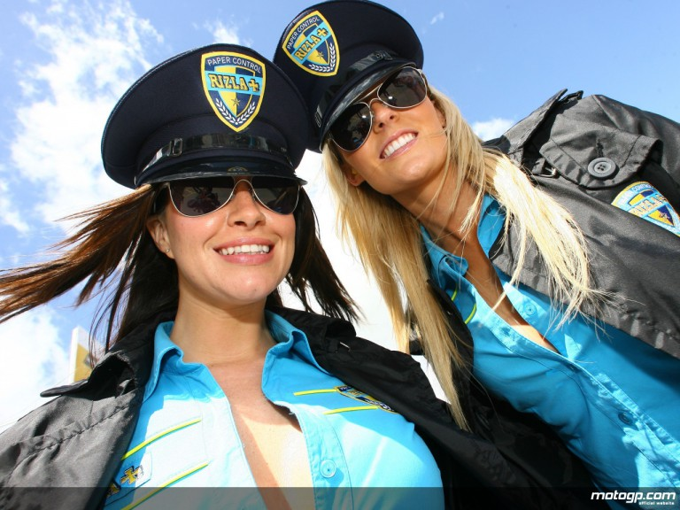 The Rizla Suzuki girls in the MotoGP paddock at Donington Park