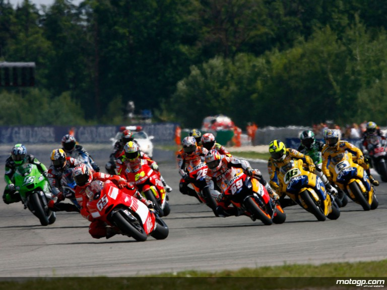 Capirossi, Hayden and Rossi fighting at the front of the pack at Brno in 2006