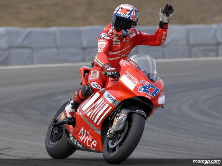 Casey Stoner celebrates victory at the 2007 Czech GP