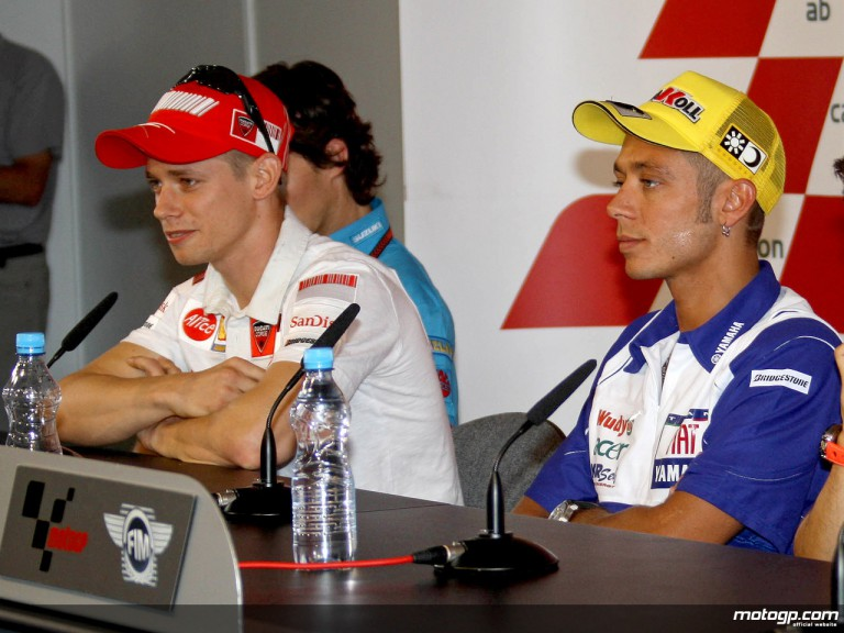 Casey Stoner and Valentino Rossi at the Cardion AB Grand Prix Ceske Republiky