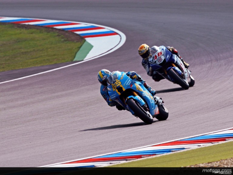 Loris Capirossi and Jorge Lorenzo in action in Brno (MotoGP)
