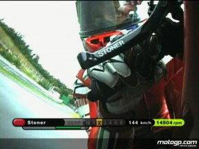 OnBoard at Brno with Ducati Marlboro rider Casey Stoner