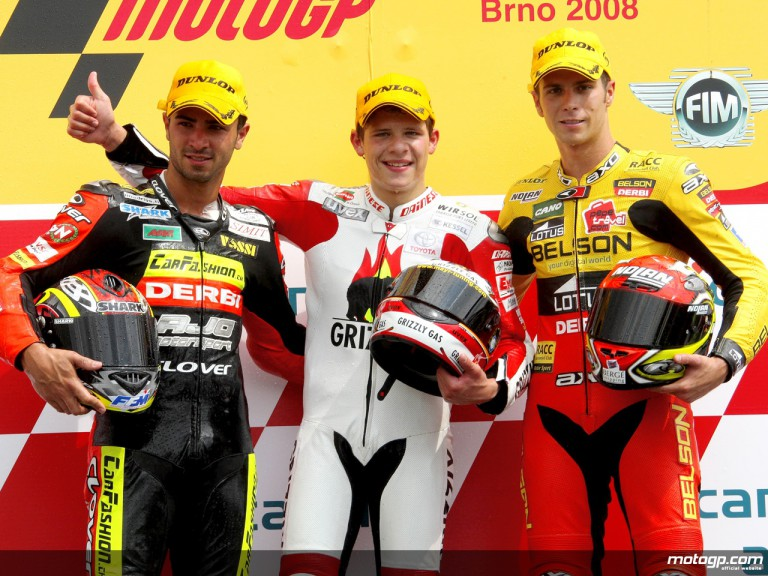 Di Meglio, Bradl and Olive on the podium at Brno (125cc)