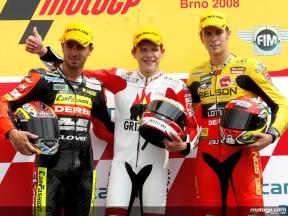 Di Meglio, Bradl and Olive on the podium at Brno (125cc)