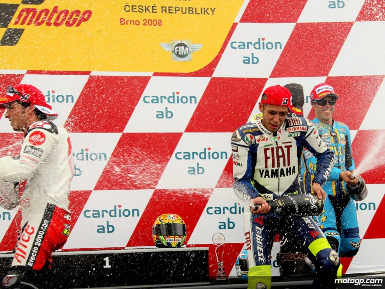 Rossi, Elias and Capirossi on the podium at Brno (MotoGP)