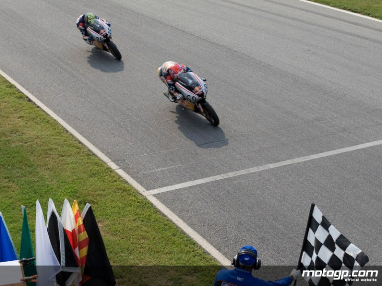 Hayden Gillim takes victory at the Virginia International Raceway Red Bull AMA U.S. Rookies Cup round