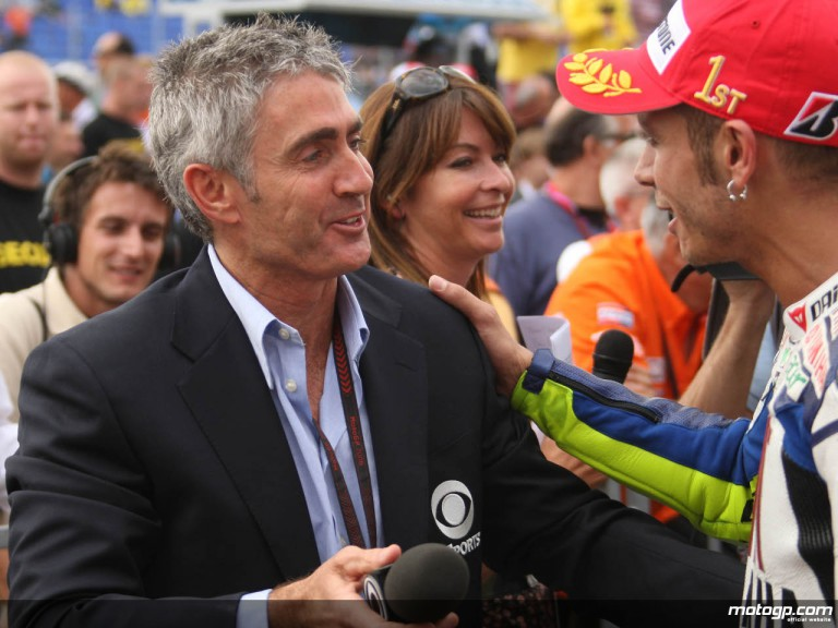 Mick Doohan interviews Valentino Rossi at the end of the Czech GP in Brno