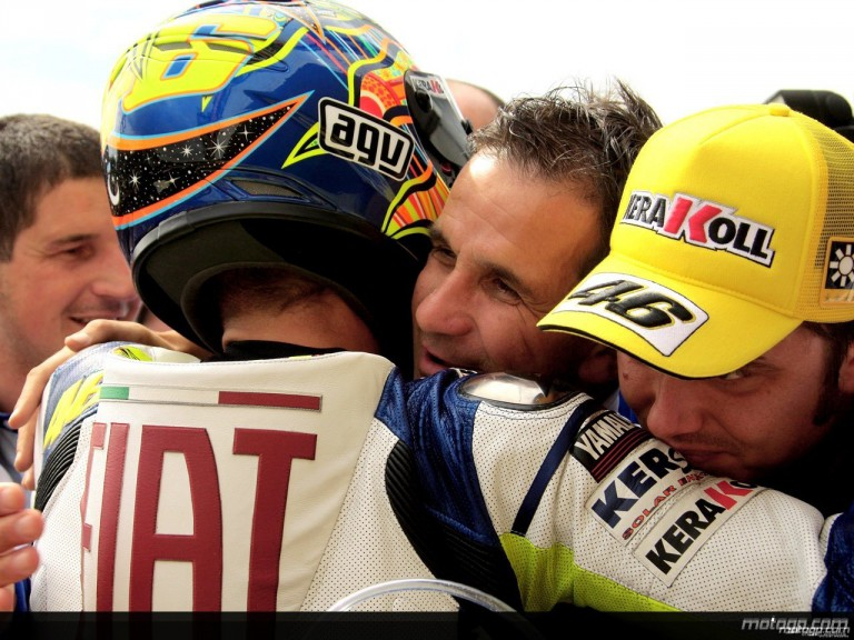 Valentino Rossi, Davide Brivio and Uccio after the race in Brno