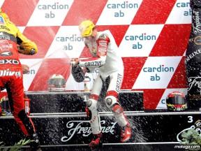 Stefan Bradl celebrating podium at Brno (125cc)