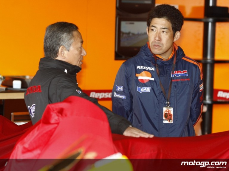 HRC test rider Tady Okada in the Repsol Honda box