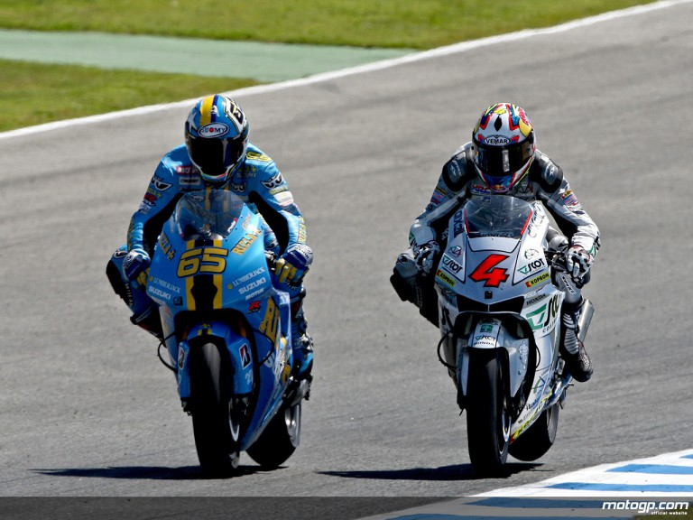 Italian riders Loris Capirossi and Andrea Dovizioso in action (MotoGP)