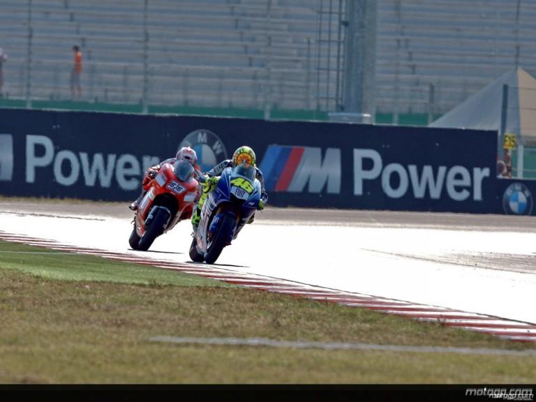 Valentino Rossi and Marco Melandri in action in Misano (MotoGP)