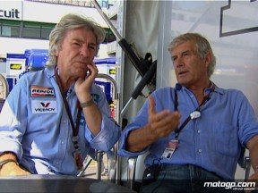 Angel Nieto and Giacomo Agostini meet up in the MotoGP Paddock in Misano