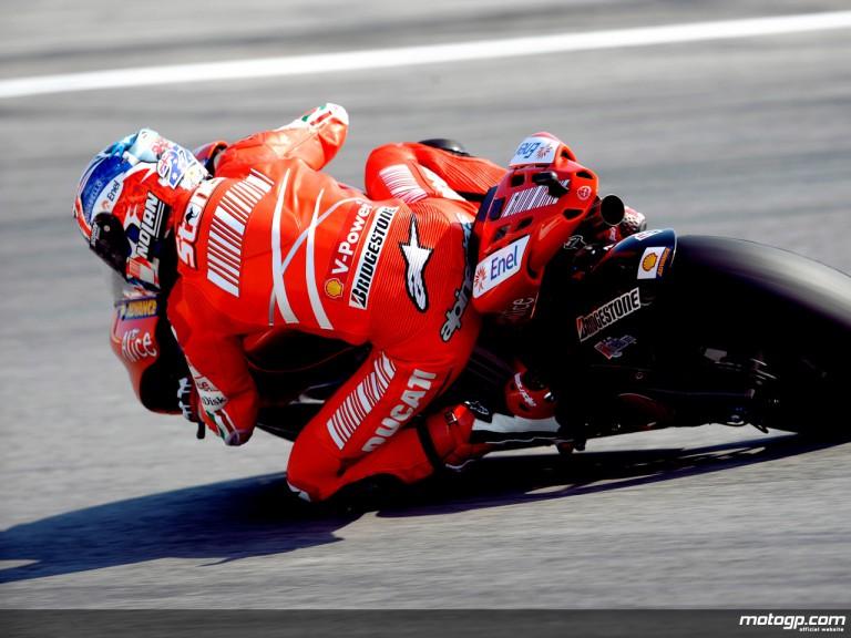 Casey Stoner in action in Misano (MotoGP)