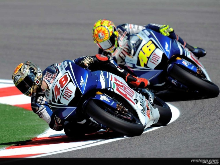 Fiat Yamaha riders Lorenzo and Rossi in action in Misano (MotoGP)