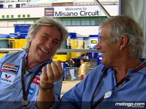 Angel Nieto and Giacomo Agostini catch up in Misano