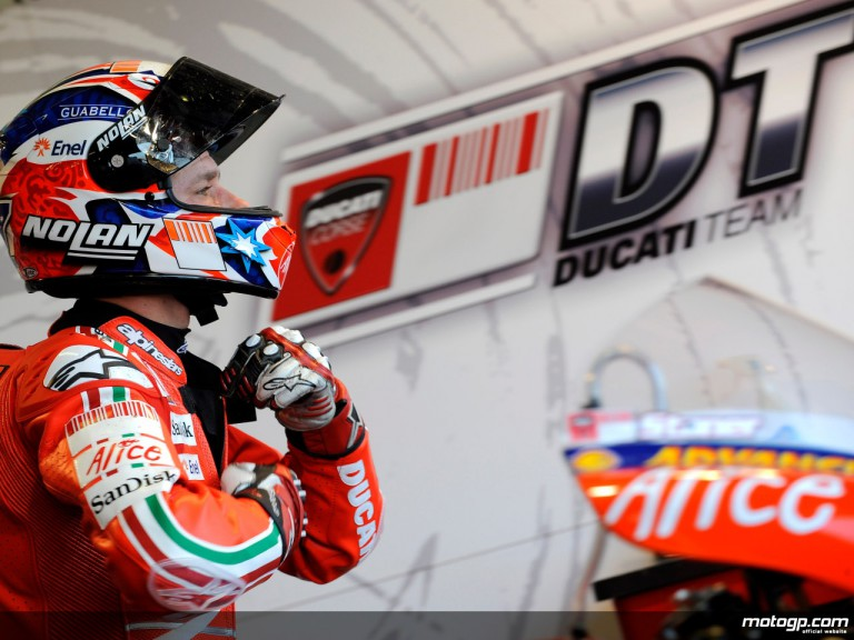 Casey Stoner in the Ducati Marlboro box