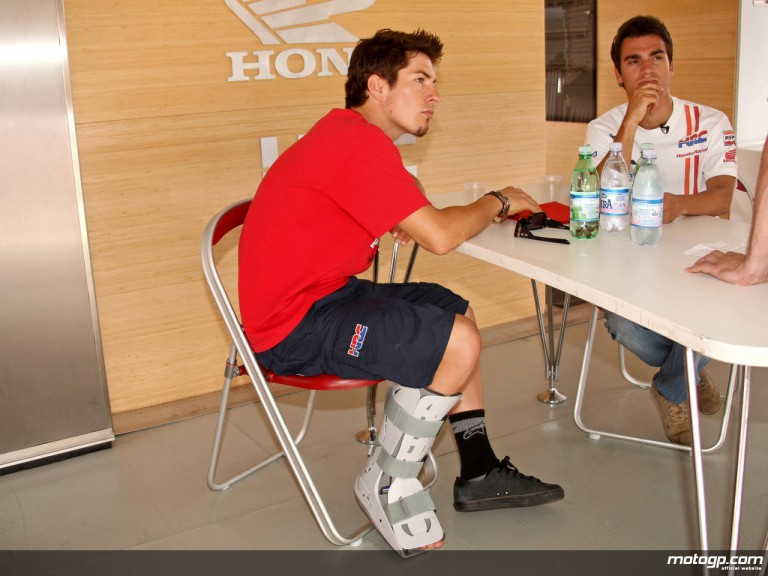 Injured Repsol Honda rider Nicky Hayden in the Misano paddock