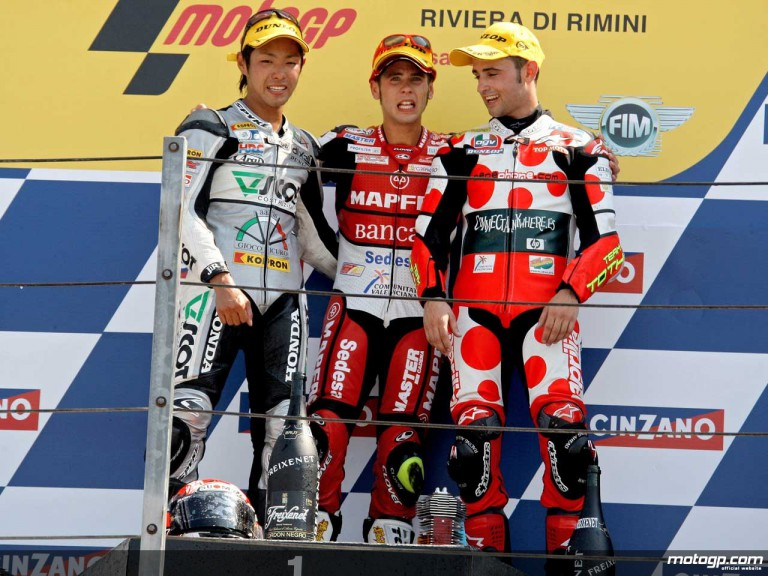 Takahashi, Bautista and Barberá on the podium at Misano (250cc)