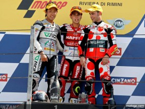 Takahashi, Bautista and Barberá on the podium at Misano (250cc)