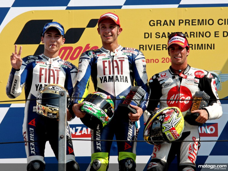 Lorenzo, Rossi and Elias on the podium at Misano (MotoGP)