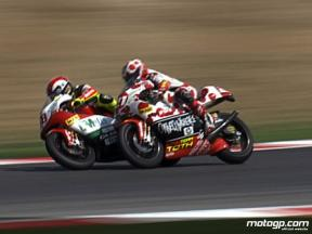 Hector Barbera and Marco Simoncelli crash during race in Misano