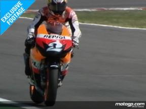 EXCLUSIVE FOOTAGE: Pedrosa first test with Bridgestone tyres