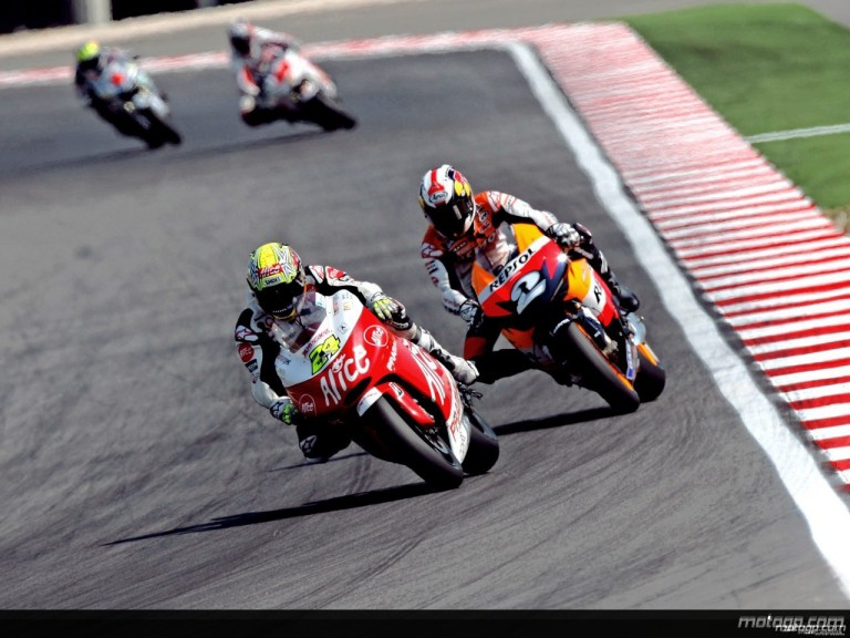 Spanish riders Toni Elias and Dani Pedrosa in action in Misano (MotoGP)