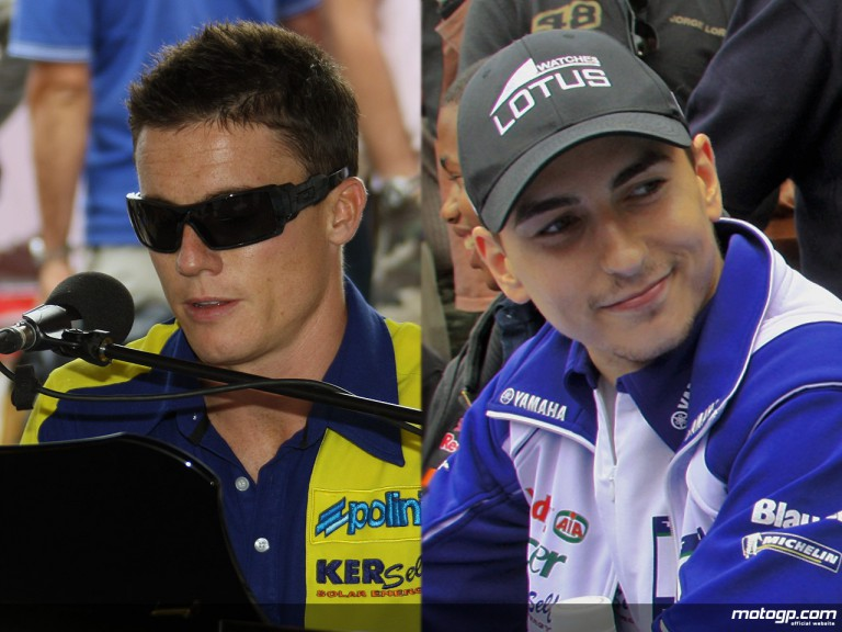 Jorge Lorenzo & James Toseland land at a Yamaha Communication Plaza
