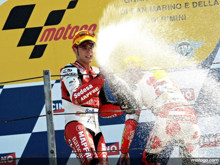 Alvaro Bautista celebrating podium at Misano (250cc)