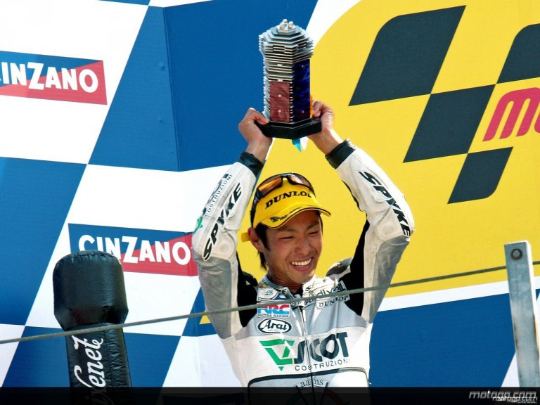 Yuki Takahashi on the podium at Misano (250cc)