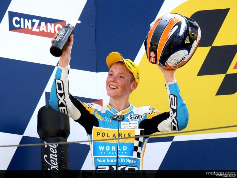 Bradely Smith on the podium at Misano (125cc)