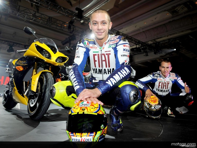 Valentino Rossi and Jorge Lorenzo at R1 launch in Las Vegas