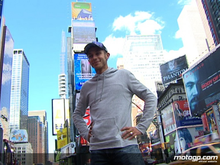 Valentino Rossi in Times Square, New York, ahead of the Red Bull Indianapolis Grand Prix