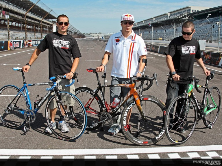 Tommy, Nicky and Roger Lee Hayden show off their Specialized bikes at the Indianapolis Motor Speedway