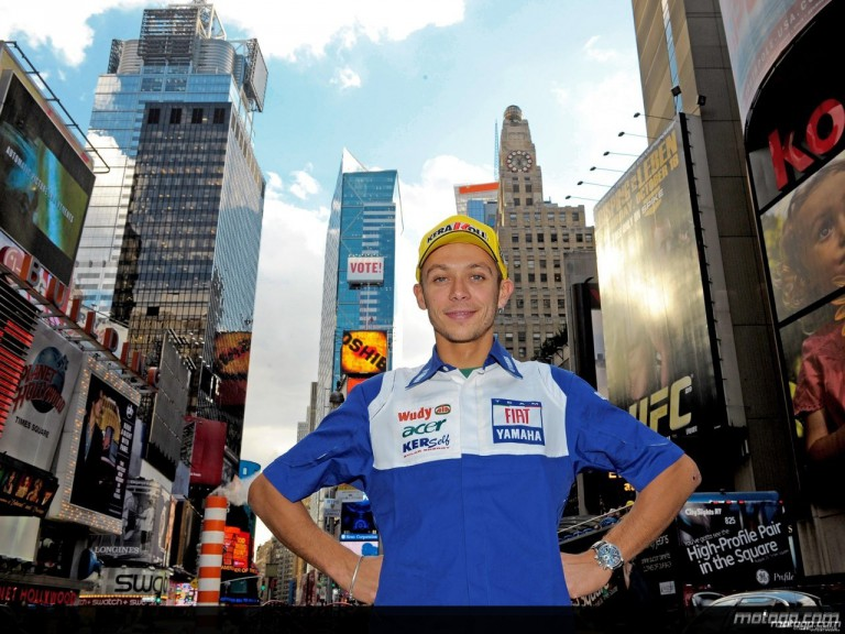 MotoGP Championship leader Valentino Rossi takes in Times Square sights