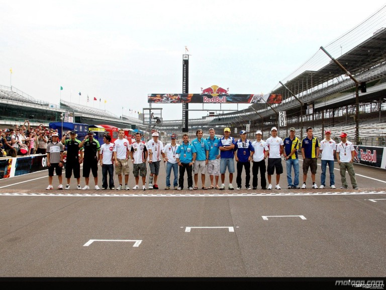 2008 MotoGP riders line-up gathered on the IMS Brickyard