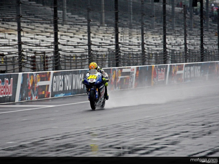 Valentino Rossi in action during free practice at Indianapolis