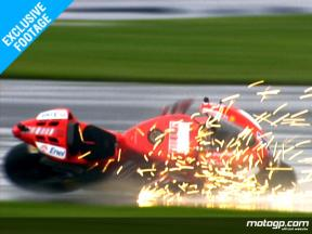 EXCLUSIVE FOOTAGE: Casey Stoner crashes in the first wet session at Indianapolis