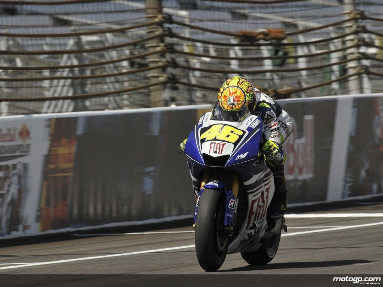 Valentino Rossi in qualifying practice at Indianapolis
