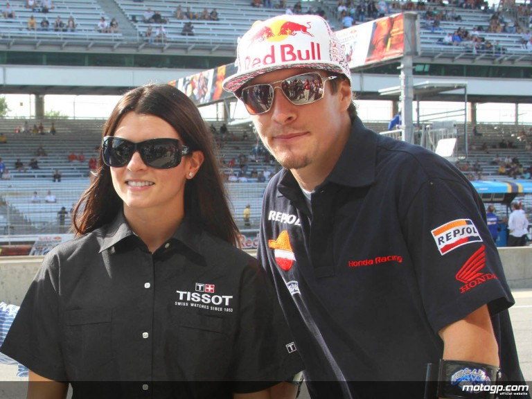 Indycar Star Danica Patrick meets Nicky Hayden at the Red Bull Indianapolis Grand Prix