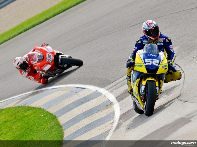 James Toseland and Marco Melandri in action during Qualifying Practice at Indianapolis
